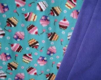 Yummy Cupcake Print Fleece With Purple Fleece On Reverse Sewn Fleece Blanket Or Throw