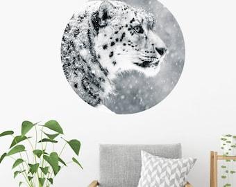 Snow Leopard Dot Wall Decal