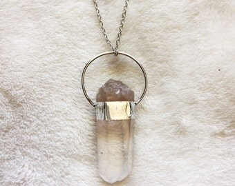 Large Self Soldered Light Fade Smokey Quartz Talisman Pendant