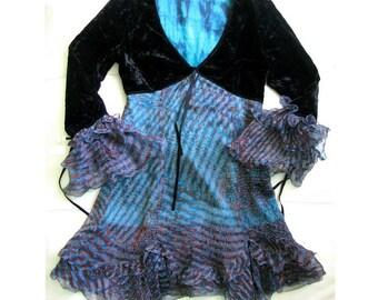 ALEXANDER McQUEEN Ruffle Silk Abstract Print Velvet Top Dress