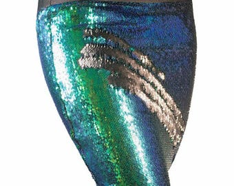 Blue Green/Black color changing sequin pencil skirt