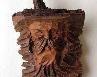 Wood carved Mountain man cabin art wall hanging