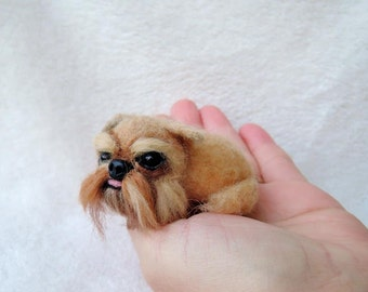 Needle felted Griffon, Brussels Griffon laying sculpture - dog brooch - Miniature felted pet portrait - custom made