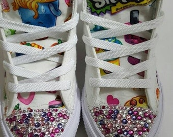 Bling Crystal Shopkins Converse, bedazzled shoes, Girl birthday chucks