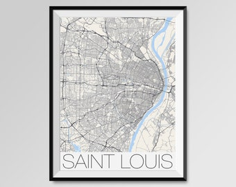 SAINT LOUIS Map Print, Modern City Poster, Black and White Minimal Wall Art for the Home Decor