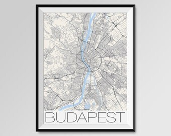 BUDAPEST Map Print, Modern City Poster, Black and White Minimal Wall Art for the Home Decor