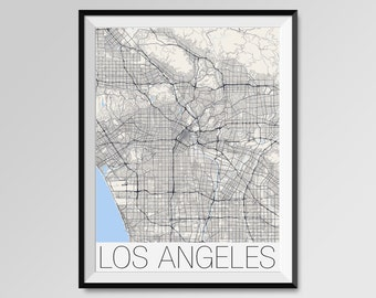 LOS ANGELES Map Print, Modern City Poster, Black and White Minimal Wall Art for the Home Decor