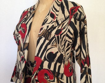 1980s zebra print skirt suit