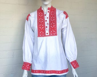 Vintage 70s Embroidered Peasant Blouse//Bohemian Cotton Folk Boho Hippie Ethnic Festival Shirt Top