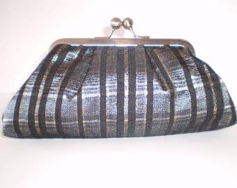 Clutch Purse, Kisslock Frame Purse, Evening Bag, Wedding Bag, Silver Frame, Black Silver and Gold Brocade, Black Lining, Vintage Fabric
