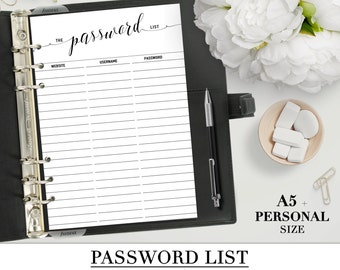 Printable PASSWORD LIST  for your Personal, A5 and Letter size planner_Black & White_Two inserts for the price of one! Special Offer!!