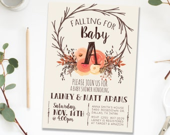 Fall Autumn Rustic Baby Shower Sprinkle Invitation Invites Girl, Woodland Fall Pumpkin Peach Gender Neutral Co-ed Printable Invite Girl [5]