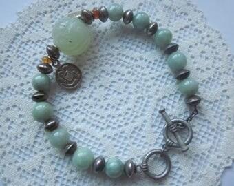 Vintage Carved Jade Silver Bracelet