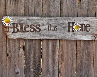 Bless This Home Daisy Wooden Wall Art Home Decor