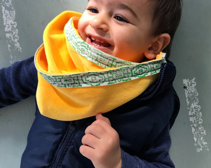 Baby Toddler Scarf / Organic Cotton Velour / Yellow Grey Pink Coral Blue / Unisex Boy Girl / Warm / Winter / Soft / Eco Friendly / Natural