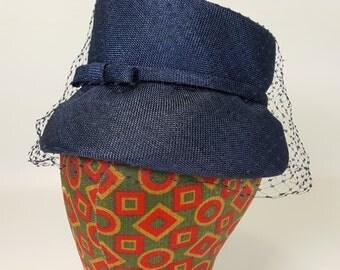 Vintage Hat Summer Wedding Party Navy Blue