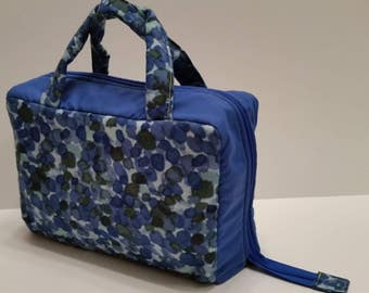 Blue Flower Petal Lunch Tote Opening Into a Tray.