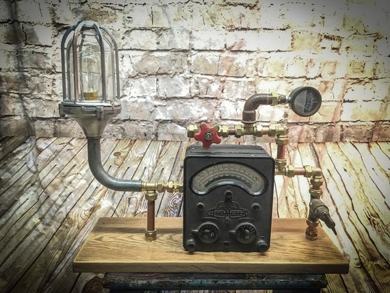 Steampunk avometer table lamp