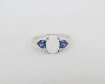 Vintage Sterling Silver White Opal & Tanzanite Ring Size 7