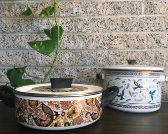 1970s Vintage Brown Paisley Patterned Pot with Lid