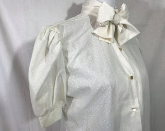 Vintage Necktie Blouse Womens Ivory Pointelle Swiss Dot Cotton Shirt with Bow Medium
