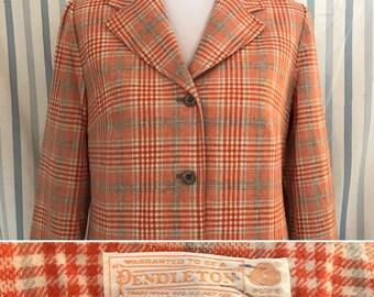 Vintage Pendleton Virgin Wool Blazer Coral Orange Plaid Large