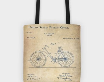 bicycle tote bag, bicycle patent, bicycle bag, bike drawing Shopping bag, Bike art, Original gift idea,  Cyclist Gift Idea, Bicycle Design
