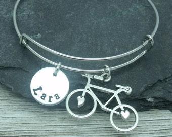 Bicycle hand stamped adjustable bangle, bicycle bracelet, bicycle jewellery, bicycle gift, personalised gift, bicycle name, bike bracelet