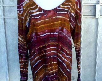LARGE Agate Geode Stripe Ice Dye Tunic | Long-sleeved Tunic Top | Ice Dye Top |  | Lounge Top | Cotton Modal | Earth Tones Tunic Top