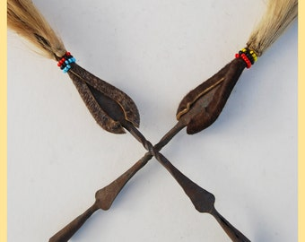 MASAI BRUSH - Domestic Iron, Beaded Leather and Horse Hair Sweeping Brush. From Kenya, Africa