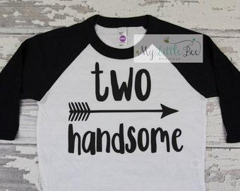Two Handsome Birthday Boy Raglan Shirt, Baby Raglan Tee,Toddler Raglan Tee,Childrens Raglan tee, Birthday outfit, 2nd Birthday outfit