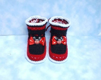 Red and black baby booties gift for baby shower gift for new mom gift from  grandpa and grandma gift gift for niece newborn socks,