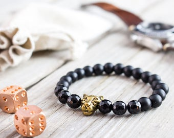 8mm - Matte black onyx and faceted black onyx beaded gold Leopard head stretchy bracelet, yoga bracelet, mens bracelet, womens bracelet