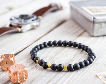 6mm - Matte black onyx beaded stretchy bracelet with gold plated hematite beads, custom made yoga bracelet, mens bracelet, womens bracelet