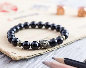 8mm - Black onyx beaded stretchy bracelet with bronze Buddha bead, mens bracelet, womens bracelet, black bead bracelet