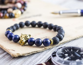 8mm - Black lava stone beaded gold Leopard head stretchy bracelet with lapis lazuli beads, yoga bracelet, mens bracelet, womens bracelet