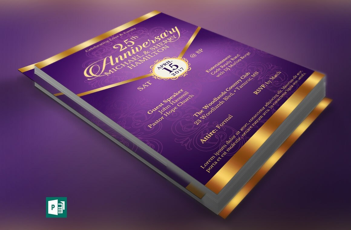 wedding anniversary gala flyer publisher template