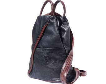 Italian Leather Backpack Shoulder Bag Handcrafted In Florence Italy in black & brown 2061