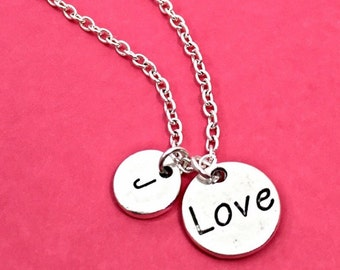 """Engraved """"Love"""" necklace, love word charm necklace, love charm pendant, personalized,initial necklace,initial charm,monogram, custom, gift"""