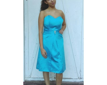 Vintage Turquoise strapless Dress by DaVinci Size 12