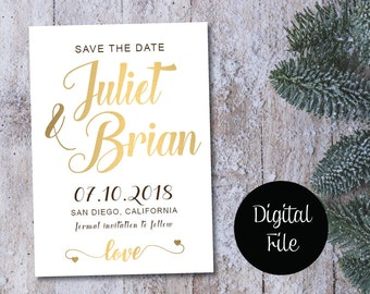 Save the Date Calendar Template/Save the Date Postcard Printable/Save the Date Announcement/Save the Date Card Printable/Gold & White