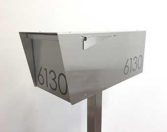 The Minimalist - Modern mailbox - stainless steel design large size - post mounted - locking - metal - post mount