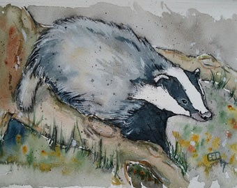 Badger art painting original watercolour painting wildlife art animal painting, Badger in Woodland