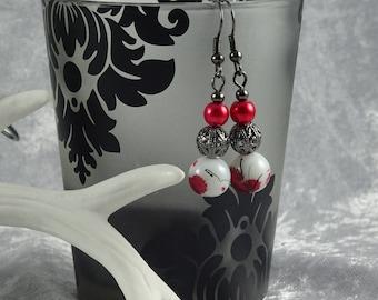Handmade Red Blossom Teardrop Earrings