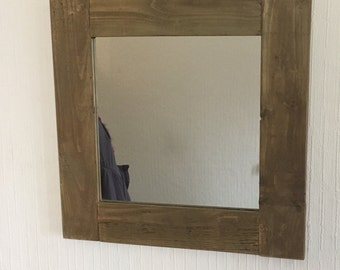 "17"" Square Rustic Jacobean Oak Mirror"