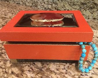 Agate Display Box | Jewelry Box | Large Agate Slice | Gold Leaf | Geode Box | Home Decor | Desk Accessory | Gemstone Box Becor