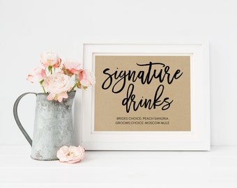 Wedding Sign Template   Signature Drinks Sign   Wedding Sign   Printable Wedding Sign   5x7 & 8x10   EDN 5478