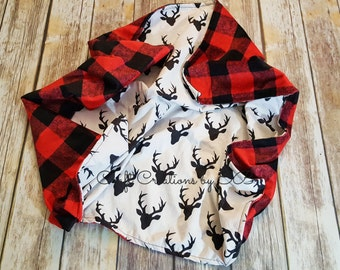 Buffalo Plaid Deer Baby Blanket- Baby Boy Blanket- Baby Blanket- Buffalo Check- Deer baby Blanket- Deer Baby Bedding- Deer Crib Blanket