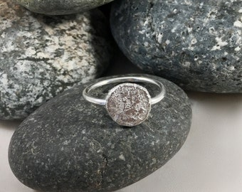 sterling silver ring - coin ring - cast nugget ring - recycled silver ring - stacking ring