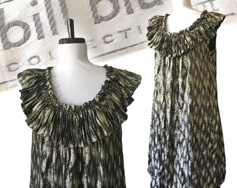 Vintage BILL BLASS COLLECTION 1980s Metallic Pleated Trapeze Evening Dress — S/M